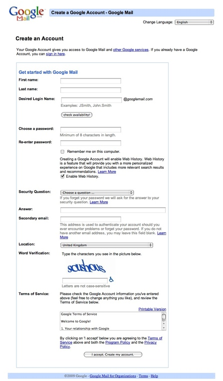 Google Mail sign up form