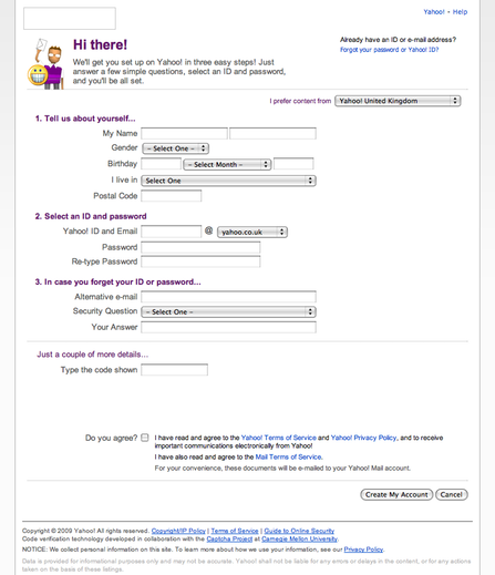 Yahoo! Mail sign up form