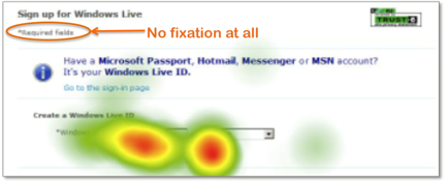 Hotmail mandatory form fields - heatmap