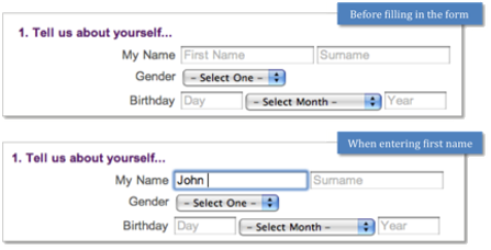 Yahoo name form