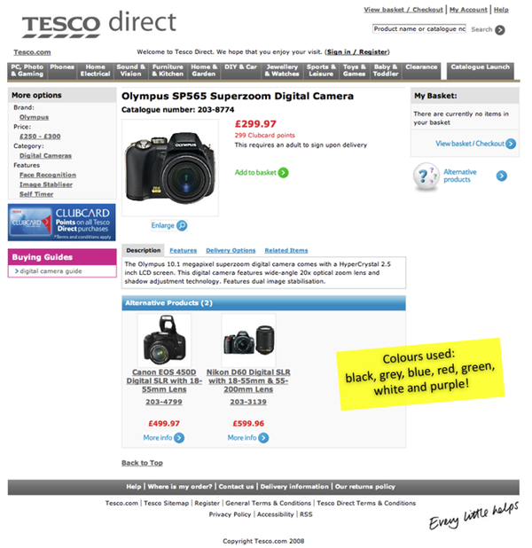 Tesco Direct product page