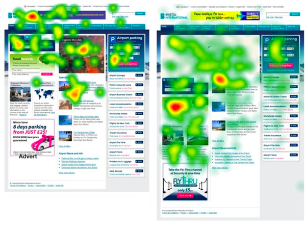 Bristol Airport eyetracking showing how users explore the page if there is less above the page fold