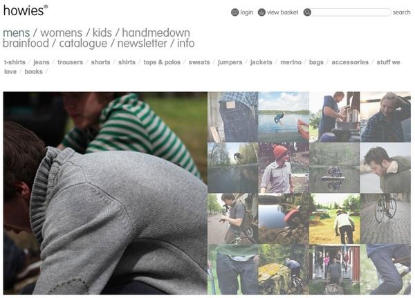 Screenshot of Howies website photography