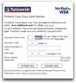 Verified by Visa sign up form
