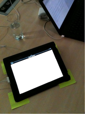 iPad with post-its