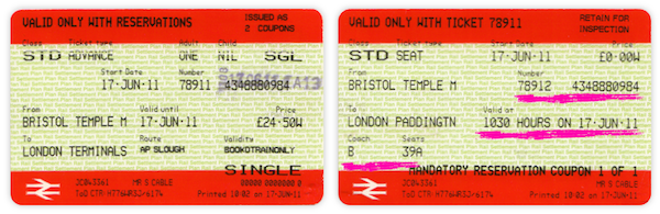 Advanced UK rail ticket