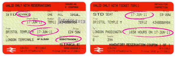 UK rail ticket with validity information highlighted