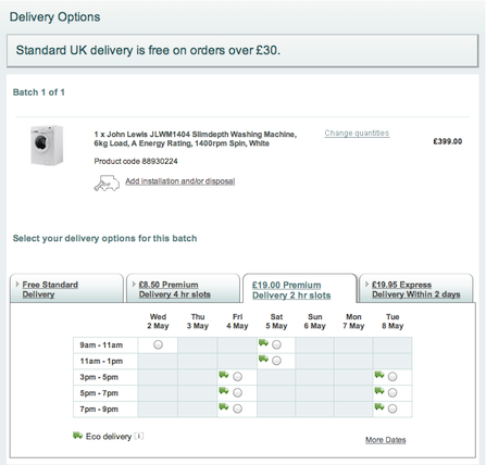 John Lewis delivery options