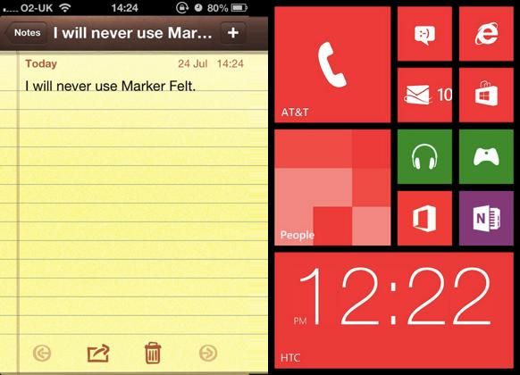 Windows 8 aside iOS 6