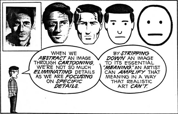 When we abstract an image through cartooning, we're not so much eliminating details as we are focusing on specific details. By stripping down an image to its essential meaning, an artist can amplify that meaning in a way that realistic art can't