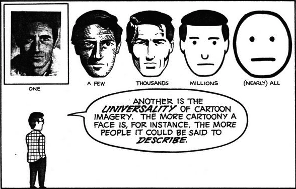 Another is the universality of cartoon imagery. The more cartoony a face, the more people it could be said to represent